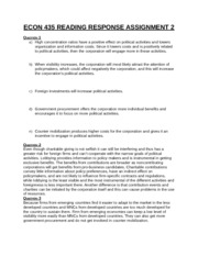ECON 435 READING RESPONSE ASSIGNMENT 2