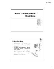 Basic Chromosomal Disorders for pharmacy