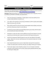 commas03 - Name Date Commas Exercise 3 This handout ...