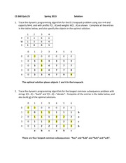 Quiz 25 Solution Spring 2013 on Dynamic Programming