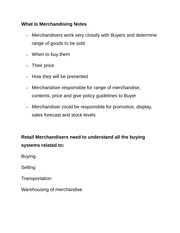 What is Merchandising Notes