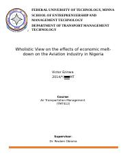 Wholistic View on the effects of economic melt-down on the Aviation industry in Nigeria.docx