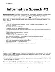 Informative Speech Assignment Speech #2