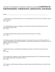 CHAPTER 10--PARTNERSHIPS FO
