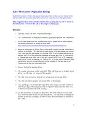 Population Biology - Population Biology Answer Sheet(2 ...
