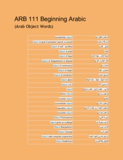 ARB 111 Beginning Arabic (Arab Object Words and Phrases)