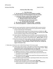 Monetary Policy FRQs answers