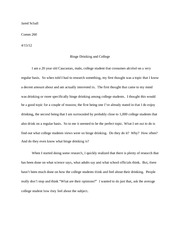 Binge drinking and college students essay