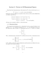 Lecture Notes on Vectors in M-Dimensional Spaces