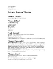 Intro to Roman Theatre