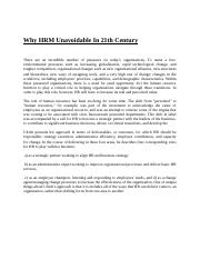 Why HRM Unavoidable In 21th Century