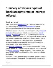 survey of various types of bank accounts rates of interest offered conclusion