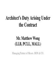 Architects Duty Arising Under the Contract 2