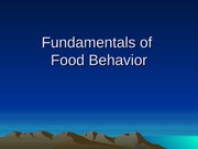 Fundamentals of food behavior(1)