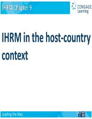 IHRM in Host County Context  Ch[1]. 9  chapter_09.ppt