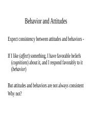 social lecture 6 - behavior and attitudes.ppt