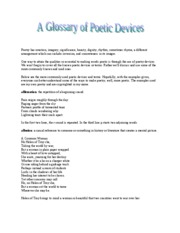 Glossary of Poetic Devices
