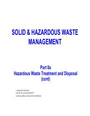 ESE3101 PART 8a - Hazardous waste treatment and disposal (cont)