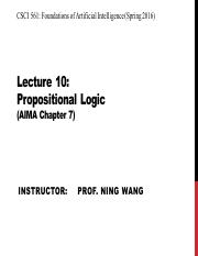 AI Spring 2016 Lecture 10