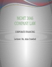 Company Law 4  - Corporate Financing Part 1.pptx