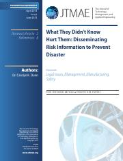 Dunn 2013 - What they didnt know did hurt them - Disseminating risk information to prevent disaster.