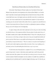 essay on heart disease in women