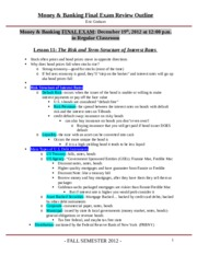 Money and Banking Final Exam Review Sheet -1