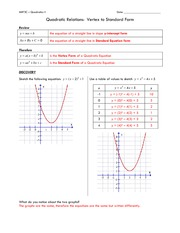 Quadratic Relations- Vertex to Standard Form