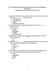 Test 3- Organizational Assessment Performance Framework- Motivation-Performance