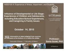 LECTURE 5 - Children & Adolescents with Illness, Impairment, Disability