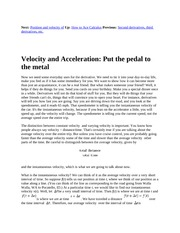 6 Velocity and Acceleration