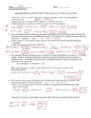 Stoichiometry Review - Key