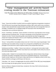studi kasus Value  management and  activity based costing model in the Tunisian restaurant.docx