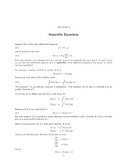 Lecture 6 Separable Equations