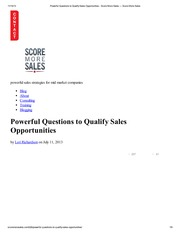 Powerful Questions to Qualify Sales Opportunities - Score More Sales — Score More Sales