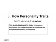 641 Ch 3 How Personality traits influence leadership emergence