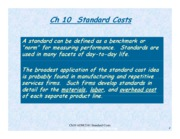 Ch 10 Standard Costs