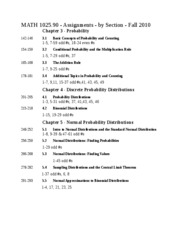 MATH 1025 - Assigments - Ch.3to5 - Fall 2010