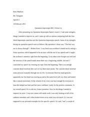speech  mid semester evaluation reflection paper   ross madison mr  pages speech  quotation impromtu rd  write up