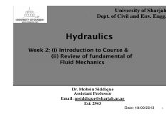Chapter  1- Introduction to Hydraulics-2013 - Student Notes.pdf