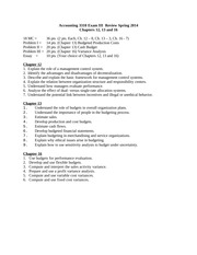 Exam III Review Spring 2014