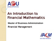 (03) Introduction to Financial Mathematics