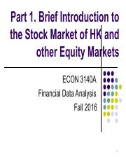 Part 1. Brief Introduction to the Stock Market of HK and other Equity Markets