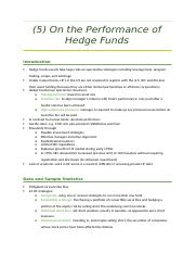 5 On the Performance of Hedge Funds.docx