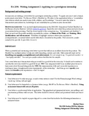 Writing Assignment 2 Cover Letter