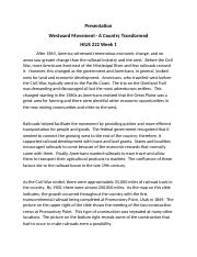Presentation Westward Movement - A Country Transformed  HIUS 222 Week 1.docx