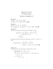Math 2924 Partial Fractions