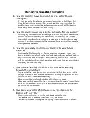 Professional and Civility in Nursing Practice Reflective Questions.docx