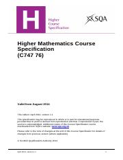 CfE_CourseSpecification_Higher_Mathematics_Mathematics