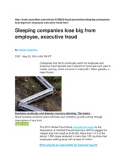 Sleeping companies lose big from employee